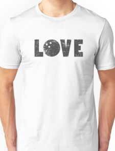 I Love Bowling Bowlers Word Emoji Illustrated Word Art Funny Graphic Tee Unisex T-Shirt