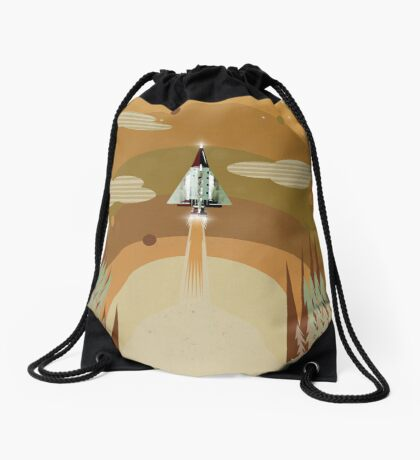 the adventure continues Drawstring Bag