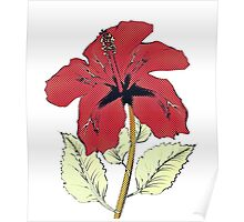 Halftone red hibiscus Poster