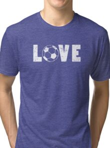 I Love Soccer Illustrated Word Art Emoji Style Unique Graphic Tee Shirt Tri-blend T-Shirt