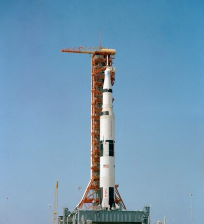 Apollo 10 space vehicle on the launch pad at Kennedy Space Center. Sticker