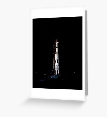 Nighttime view of the Apollo 10 space vehicle on its launch pad. Greeting Card