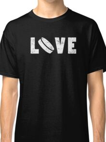 I Love Hockey Illustrated Word Art Funny Emoji Style Graphic Tee Shirt Classic T-Shirt