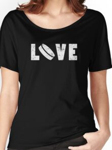 I Love Hockey Illustrated Word Art Funny Emoji Style Graphic Tee Shirt Women's Relaxed Fit T-Shirt