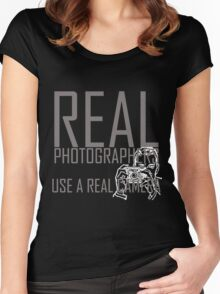 Real photographers use a real camera-  i love photography shirt Women's Fitted Scoop T-Shirt