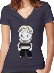 Meow taylor Women's Fitted V-Neck T-Shirt