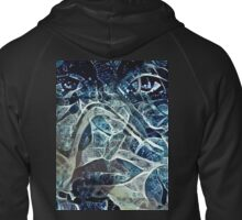 Blue Faces Zipped Hoodie