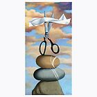 ROCK, PAPER, SCISSORS - still life painting by LindaAppleArt