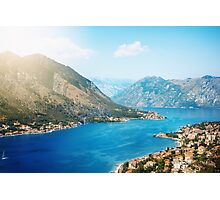 View from Mountain in Sunny Day on Kotor Bay Photographic Print