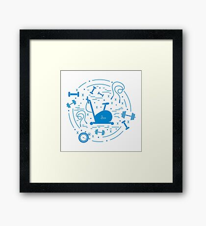 Vector illustration of different kinds of sports equipment arranged in a circle. Including icons of skipping rope, stopwatch, exercise bike, dumbbells.  Framed Print