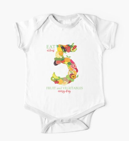 Fruit and Vegetable Healthy Eating Graphic Illustration One Piece - Short Sleeve