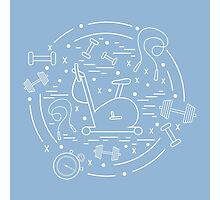 Vector illustration of different kinds of sports equipment arranged in a circle. Including icons of skipping rope, stopwatch, exercise bike, dumbbells.  Photographic Print