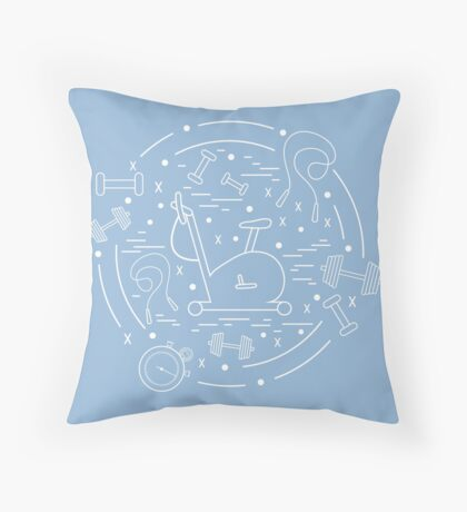 Vector illustration of different kinds of sports equipment arranged in a circle. Including icons of skipping rope, stopwatch, exercise bike, dumbbells.  Throw Pillow