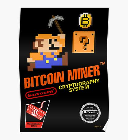 Bitcoin Geek Nintendo Gaming Funny Mario Mashup  Poster
