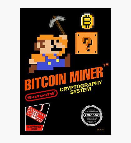 Bitcoin Geek Nintendo Gaming Funny Mario Mashup  Photographic Print