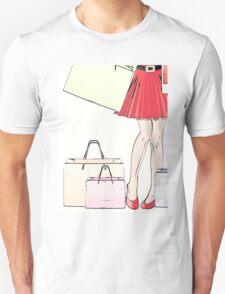 Halftone shopping woman legs Unisex T-Shirt