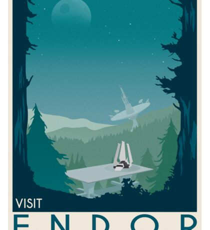 Endor poster. Starwars retro travel. Forest moon Endor. New hope. Death star. Empire strikes back. Speeder bike tours. Stoormtrooper Sticker
