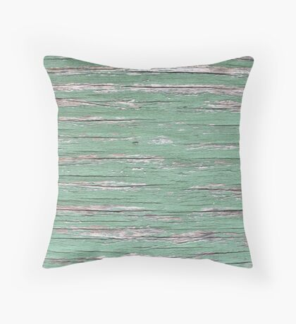 Sage Green and Grey Distressed Peeling Paint Wood Effect Texture Throw Pillow