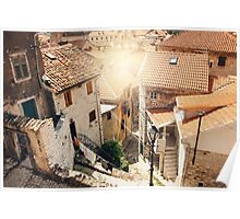 Aerial View from Mountain in Sunny Day on Street and Houses in Kotor Poster