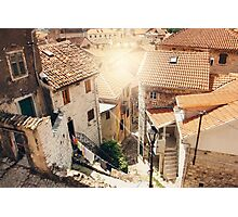 Aerial View from Mountain in Sunny Day on Street and Houses in Kotor Photographic Print