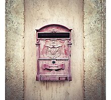 Vintage Mail Box on Stone Wall Photographic Print