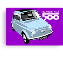 Classic Fiat 500 light blue Canvas Print