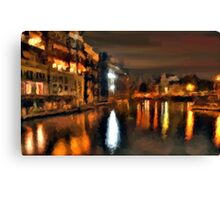 venice italy city water night lights abstract Canvas Print