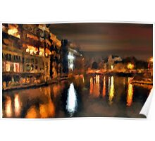 venice italy city water night lights abstract Poster
