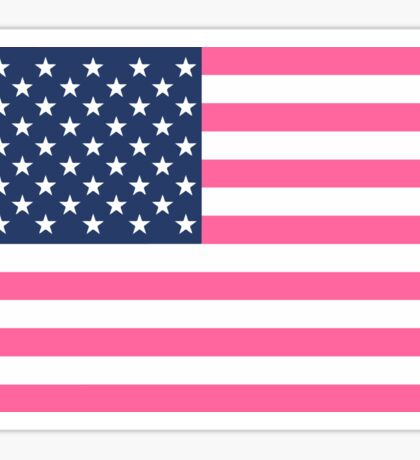 Preppy Pink American Flag Sticker