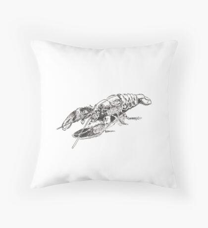 Pen and Ink Lobster Throw Pillow