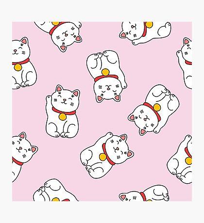 maneki neko doodle pattern Photographic Print