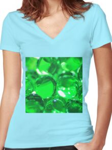 Emerald Green Background - Balls of Colorful Beauty Women's Fitted V-Neck T-Shirt