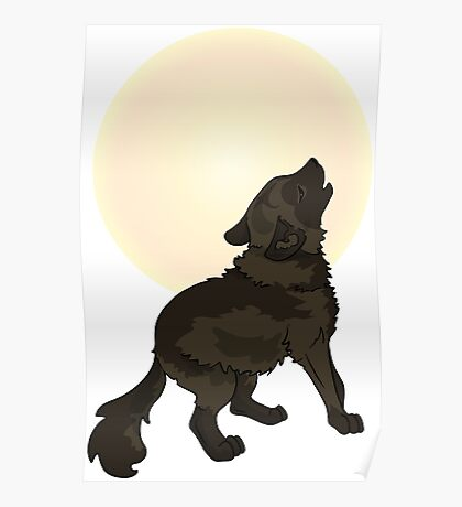 Shaggy Dog Wolf Cub Howling at a Full Moon Poster