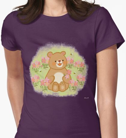 Bees Blossoms And A Bear Womens Fitted T-Shirt