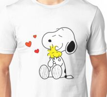Snoopy and Woodstock hugging Unisex T-Shirt