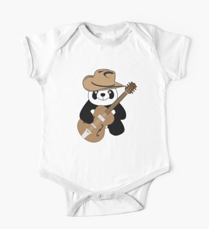 Funny panda with guitar One Piece - Short Sleeve
