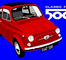 Classic Fiat 500 red by car2oonz