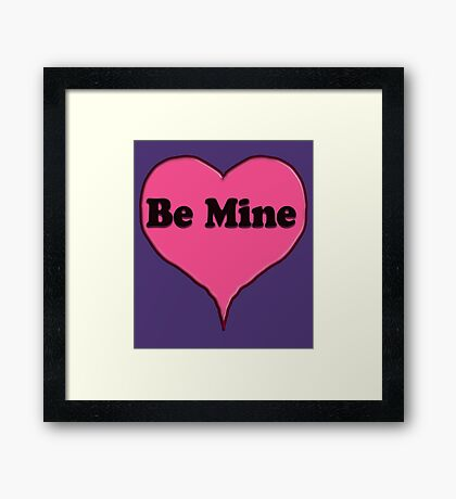 Be Mine Pink Candy heart  Framed Print