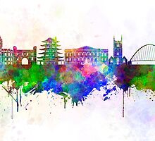 Reading skyline in watercolor background by paulrommer