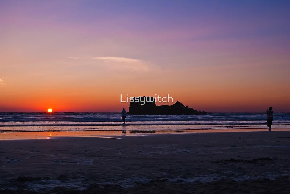Sundown at Perranporth, Cornwall by Lissywitch