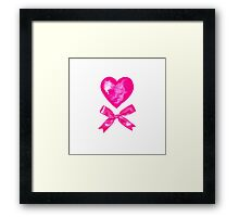 Pink Valentine bow and heart. Watercolor Framed Print
