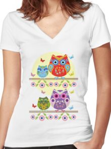 Summer owls with flowers Women's Fitted V-Neck T-Shirt