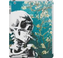 Skull with burning cigarette on cherry blossom iPad Case/Skin