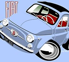 Classic Fiat 500F caricature light blue by car2oonz