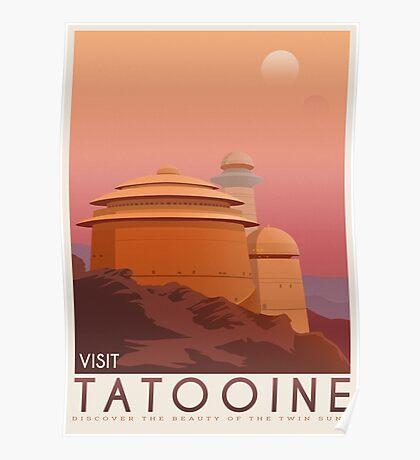 Tatooine poster. Tatooine retro travel. Starwars planet illustration. Sci fi vintage print. Luke skywalker. Landspeeder. Two mons landscape. Return of the jedi. Poster