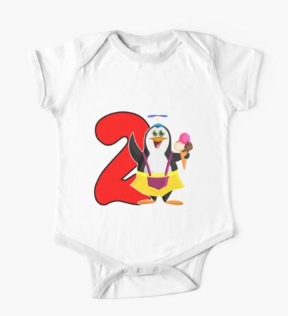 2nd Birthday Penguin One Piece - Short Sleeve