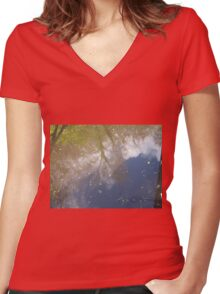 Deep Water Landscape: Autumn Reflections VII Women's Fitted V-Neck T-Shirt