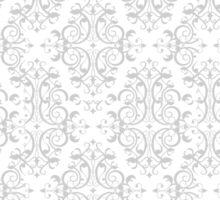 Gray & White Decorative Floral Print Pattern Sticker