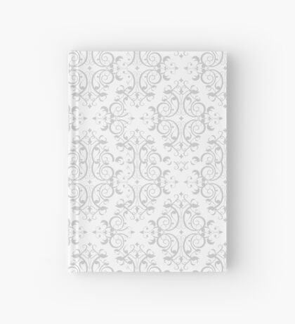 Gray & White Decorative Floral Print Pattern Hardcover Journal