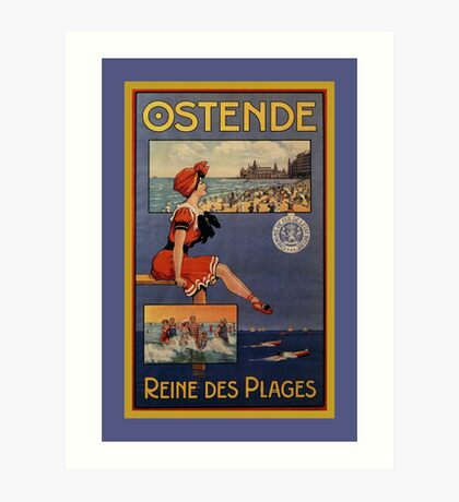 Vintage Ostend Summer beach travel bathing beauty Art Print